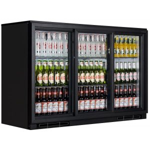 Tefcold BA30SP Triple Door Back Bar Bottle Cooler (Black)
