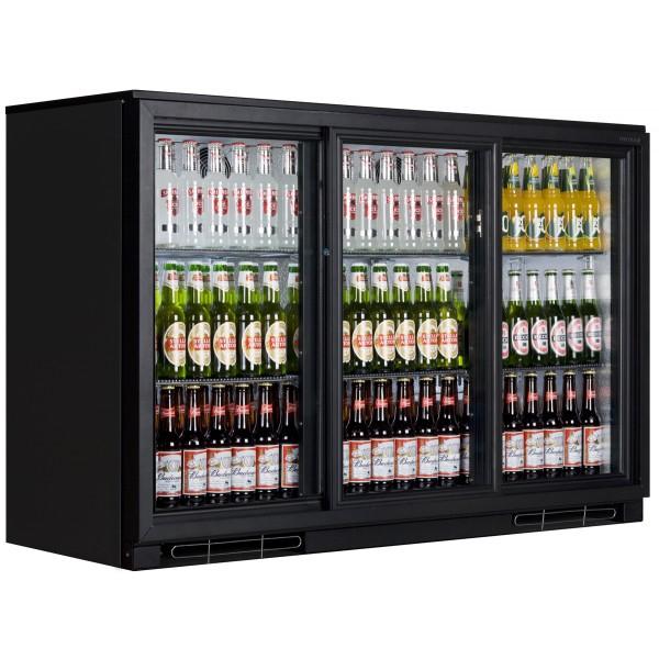 Tefcold BA30SP Triple Door Back Bar Bottle Cooler (Black)