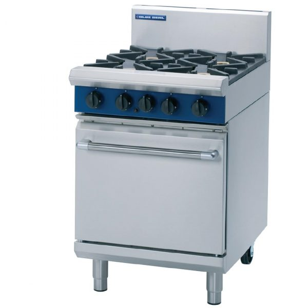 Blue Seal Evolution Series G504D 4 Burner Gas Range Static Oven 1/1 GN