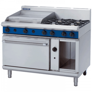 Blue Seal Evolution Series G508B 4 Burner Gas Range Static Oven 2/1 GN 49kw