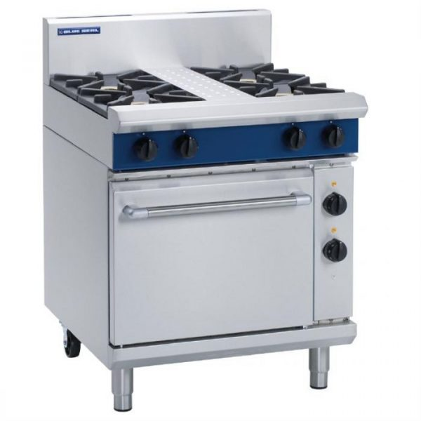 Blue Seal Evolution Series GE505D 4 Burner Gas Range Electric Static Oven 1/1 GN
