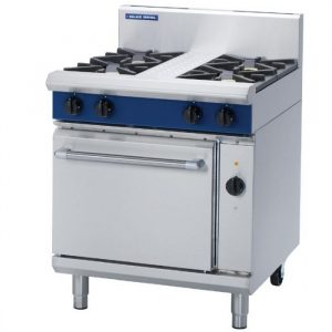 Blue Seal Evolution Series GE54D 4 Burner Gas Range with Electric Convection Oven 1/1 GN 28kw