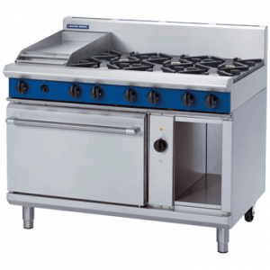 Blue Seal Evolution Series GE58C Gas Range Electric Convection Oven 2/1 GN 48kw