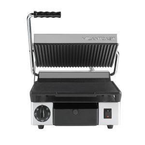 Maestrowave MEMT16001XNS Single Ribbed Top/Flat Bottom Panini/Contact Grill