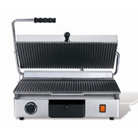 Maestrowave MEMT16031XNS Large Ribbed Top/Flat Bottom Panini/Contact Grill-0