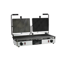 Maestrowave MEMT16051XNS Double Half Ribbed/Half Flat Panini/Contact Grill-0