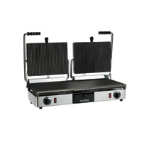 Maestrowave MEMT16052XNS Double Ribbed Top/ Flat Bottom Panini/Contact Grill-0