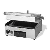 Maestrowave MEMT17011 Ceramic Ribbed Top/Flat Bottom Panini/Contact Grill-0