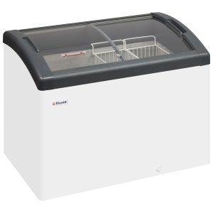 lcold Focus 106 Sliding Curved Glass Lid Chest Freezer - Grey
