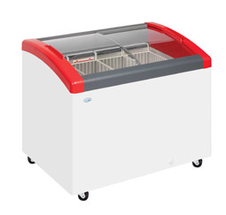Elcold Focus 73 Sliding Curved Glass Lid Chest Freezer - Red