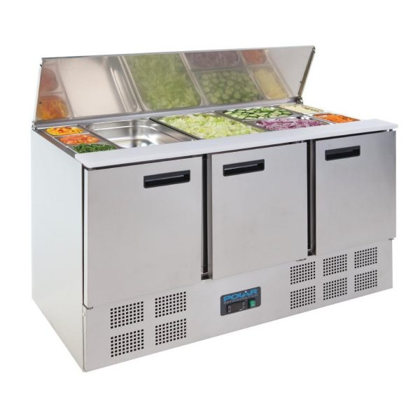 Polar G607 3 Door Saladette Counter Fridge - Lid Open