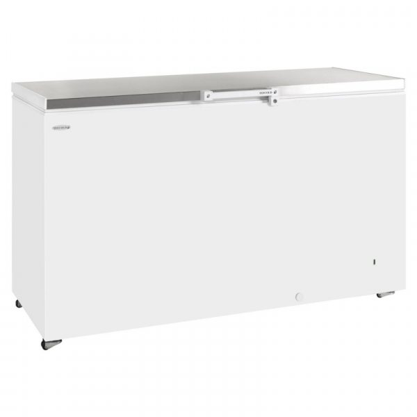 Tefcold GM500 Chest Freezer-White with Stainless Steel Lid