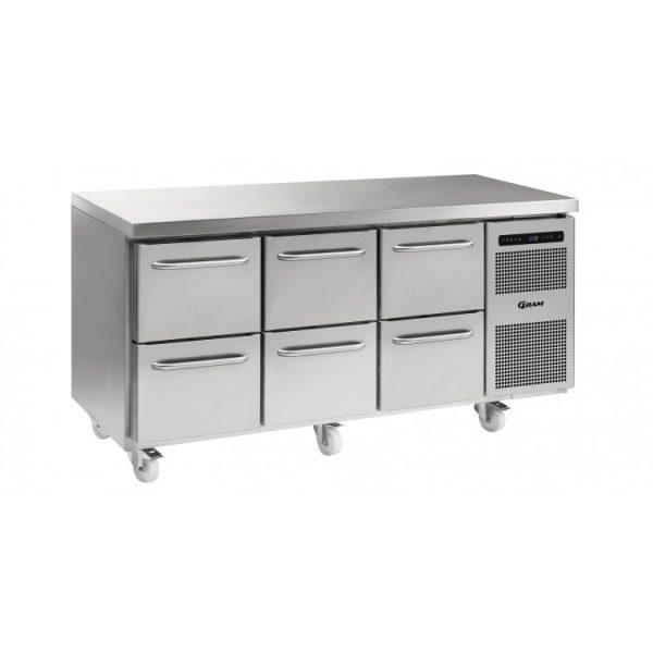 Gram Gastro K1807 3 Door Counter Fridge -6 Drawers