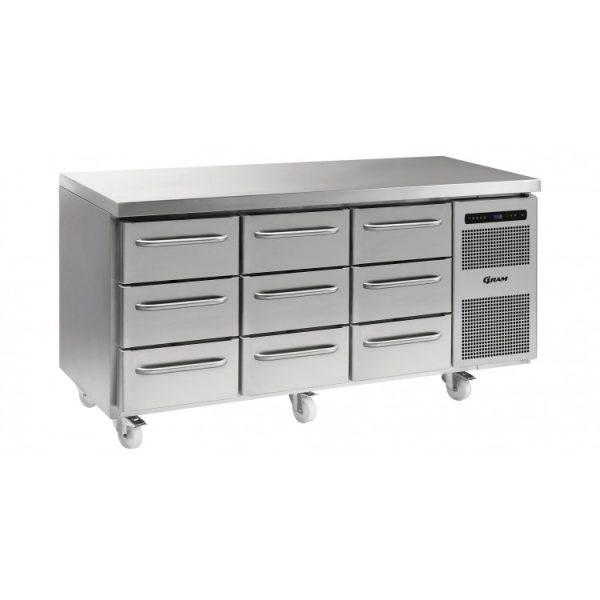 Gram Gastro K1807 3 Door Counter Fridge -9 Drawers