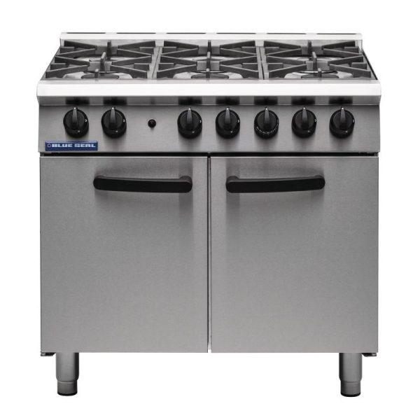 Blue Seal SR Series G750-6 - 6 Burner Range Static Oven-Legs
