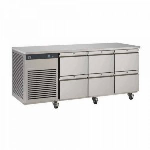 Foster EcoPro G2 EP1/3H 3 Door Counter Fridge-Stainless Steel Ext/Aluminum Int-6 Drawers-R290