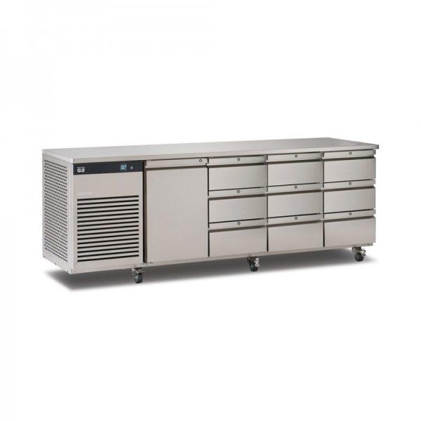 Foster EcoPro G2 EP1/4H 4 Door Counter Fridge-Stainless Steel-1 Door & 9 Drawers-R290
