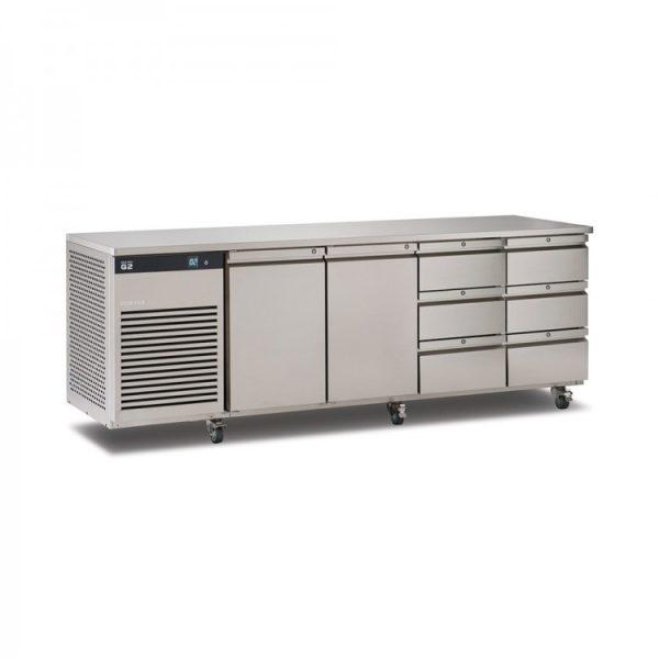 Foster EcoPro G2 EP1/4H 4 Door Counter Fridge-Stainless Steel-2 Doors & 6 Drawers-R290
