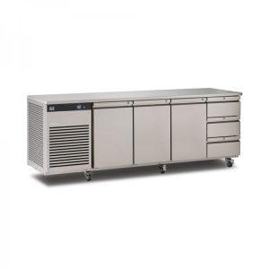 Foster EcoPro G2 EP1/4H 4 Door Counter Fridge-Stainless Steel Ext/Aluminum Int-3 Door & 3 Drawers-R290